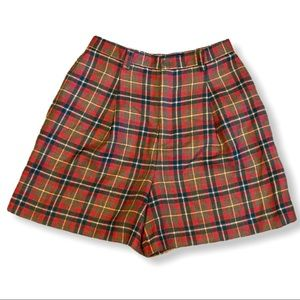 GAP Pleated Worsted Wool Plaid Shorts Red 10